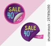 two round stickers with 40 ... | Shutterstock .eps vector #257856350
