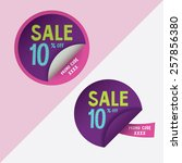 two round stickers with 10 ... | Shutterstock .eps vector #257856380