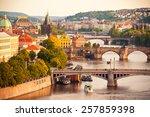 Beautiful view to Vltava and bridges in Prague, Czech republic