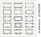 set of doodle frames and... | Shutterstock .eps vector #257862308