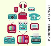 set of colorful old fashion... | Shutterstock .eps vector #257875214