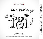 hand drawn music poster... | Shutterstock .eps vector #257886863