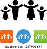 man  woman and children symbol...