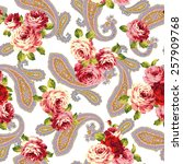 rose and paisley | Shutterstock .eps vector #257909768