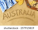 Australia Beach   Word Written...