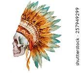 War Bonnet  Watercolor  Skull ...