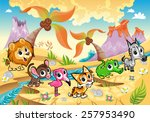 landscape with animals  tree... | Shutterstock .eps vector #257953490