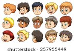 heads of young boys with... | Shutterstock .eps vector #257955449