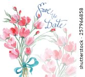 save the date with watercolor... | Shutterstock .eps vector #257966858