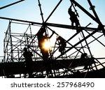 construction workers working on ... | Shutterstock . vector #257968490