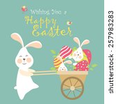 easter bunnies and easter eggs. ... | Shutterstock .eps vector #257983283