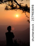 silhouette of man on the...   Shutterstock . vector #257983898