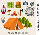 set of camping of adventure.... | Shutterstock .eps vector #257993948