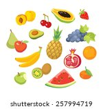 fruits and berries | Shutterstock .eps vector #257994719
