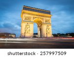 arc de triomphe in paris by... | Shutterstock . vector #257997509