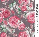 roses seamless pattern  | Shutterstock . vector #258005144