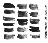 big set brush strokes drawn in... | Shutterstock .eps vector #258021824