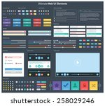 ultimate dark web ui elements   ... | Shutterstock .eps vector #258029246