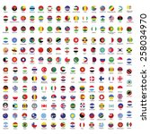 collection of flag button with... | Shutterstock .eps vector #258034970