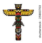 totem pole indian vector | Shutterstock .eps vector #25803703