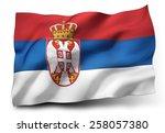waving flag of serbia isolated... | Shutterstock . vector #258057380