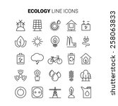 line ecology icons vector set... | Shutterstock .eps vector #258063833
