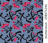 watercolor garden rowan plant... | Shutterstock . vector #258071240