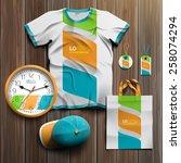 white promotional souvenirs... | Shutterstock .eps vector #258074294