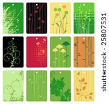 colorful floral tags vector set | Shutterstock .eps vector #25807531