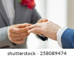 Stock photo people homosexuality same sex marriage and love concept close up of happy male gay couple hands 258089474