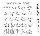 line weather icons. vector set | Shutterstock .eps vector #258092798
