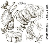 fresh meat  hand drawn... | Shutterstock .eps vector #258121106