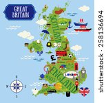 cartoon maps of britain for... | Shutterstock .eps vector #258136694