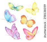 Stock vector collection watercolor of flying butterflies 258138359