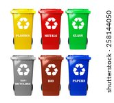 six colorful recycle bins on... | Shutterstock . vector #258144050