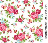Floral Pattern With Red Rose