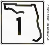 US state highway shield Florida. The sign contains a shape of the state.