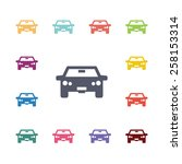 car flat icons set. open... | Shutterstock .eps vector #258153314