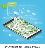 sustainable city on a digital... | Shutterstock .eps vector #258159638