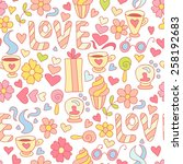 doodle seamless pattern with... | Shutterstock . vector #258192683