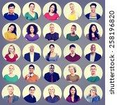 people faces portrait... | Shutterstock . vector #258196820
