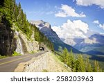 A view from Going to the Sun Road at Glacier National Park - stock photo