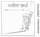 coloring worksheet with a boy... | Shutterstock .eps vector #258207014
