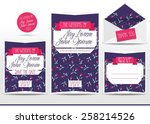 wedding invitation cards set... | Shutterstock .eps vector #258214526