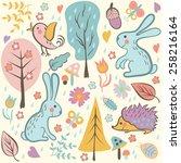 forest background.cute animals  ... | Shutterstock .eps vector #258216164