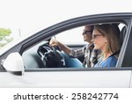 couple on a road trip in their... | Shutterstock . vector #258242774
