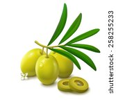 whole green unripe olives on... | Shutterstock .eps vector #258255233