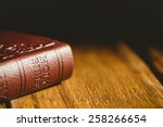 Close Up Of Bible On Wooden...