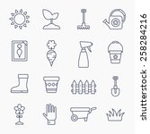 gardening line icons isolated... | Shutterstock .eps vector #258284216