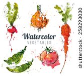 set of watercolor vegetables | Shutterstock .eps vector #258293030